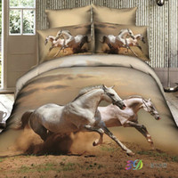 Adult Twill 100% Cotton unique animal 4pc bedding set white running Horse 3d luxury Cotton Duvet Quilt cover bed sheet and pillowcase sets queen king