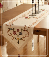 Wholesale Factory Supply Embroidery Pastoral Cotton Coffee Table Runners Fedex