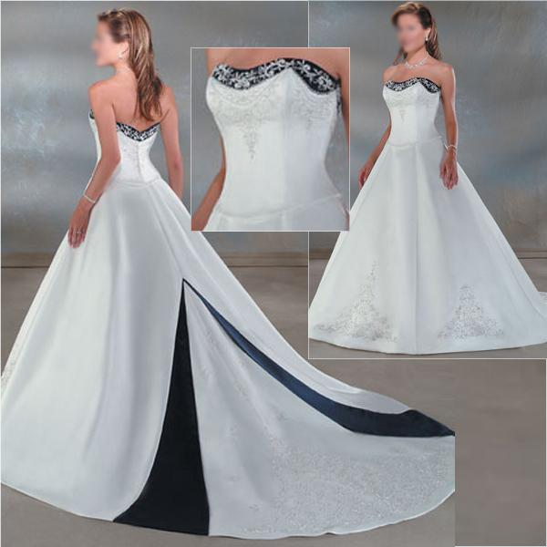 Discount Plus Size Red Wedding Dress Blue Satin White Embroidery A Line Bridal Wedding Ball Gown