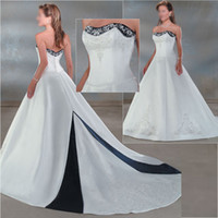 Wholesale Plus Size Red Wedding Dress Blue Satin White Embroidery A line Bridal Wedding Ball Gown C50