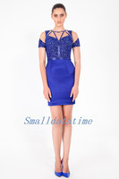 Wholesale Best Selling sexy Sheath Scoop short sleeve top beaded and blue Taffeta Mini turkish evening dresses
