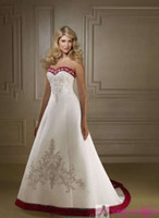 A-Line accent bridal - Classic Wedding Dress A line Red White Satin Strapless Embroidery Color Accent Bridal Wedding Gown C57
