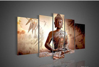 Wholesale 5panels buddha decoration Oil Painting On Canvas Paintings Pictures Decor