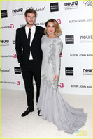 Reference Images Fashion Week Crew 2014 New Miley Cyrus Oscars Mermaid Celebrity Dresses Crew Neck Long Sleeves Appliques Beads Glitz Evening Gowns EWL217