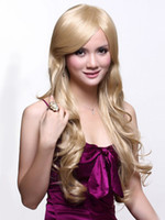 Wholesale Gold Kanekalon Curly Long Wig For Woman u5 rd4