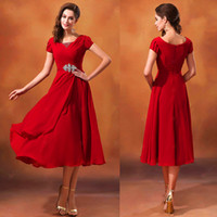 Wholesale Hot New Red Short Sleeve Ankle Length Scoop Neck Beaded Chiffon Modest Bridesmaid Dresses with Sleeves