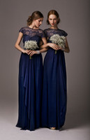 Wholesale 2014 Cheap Short Sleeves Navy Blue Chiffon Lace Bridesmaid Dresses Blue Long Maid of Honor Dress