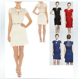 Wholesale 2014 Spring Summer New hot Fashion Women Temperament short sleeved Perspective white lace Dress