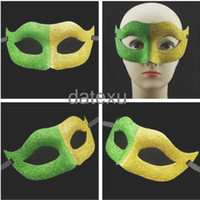 Wholesale Brazil world cup mask new design half face full gold powder shiny country flag color masquerade Halloween party prop DHL free