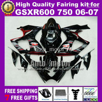 Wholesale 7gifts Gifts A fairing kit FOR SUZUKI GSXR K6 GSXR600 GSXR750 R600 R750 high grade ABS fairings black C