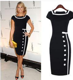 Wholesale 2014 New HOT Spring summer Women s Fashion Dresses Retro hit color stitching temperament single breasted Women s Work Dress