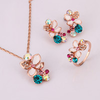 Wholesale 2014 New arrival baking varnish rose gold plated jewelry sets inlay crystal and pearl KS329