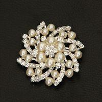 Men's asfour crystal - by Fedex or DHL Fashion Pearl Brooch With Asfour Rhinestone Rhodium Plating Brooch LSY022