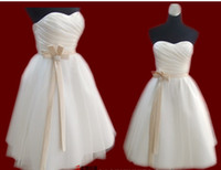 Cheap Bridesmaid Dresses With Flower A-line Long Knee-Length Prom Evening Gowns Customer Made Real Pictures
