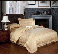 Wholesale Luxury Golden Jacquard Tribute Silk comforter covers king size bedclothes duvet cover bed sheet bedding set home textile