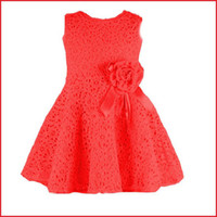 Wholesale 2014 New Arrival Girl Dress Baby Sleeveless Tutu Dresses Kids Princess Lace Dress Summer New Pink Red Children Flower Dresses Color
