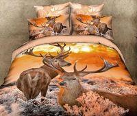 Cheap 3D Deer bedding sets queen size 4pcs Animal printed comforter duvet covers bed sheet bedclothes cotton home textile