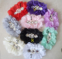 Accessories Blending Solid Sewn pearl diamond 4inch stunning silky tulle chiffon hair flower hair accessories for girl shoe flower women headband clothes Accessories