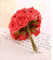 Wholesale Head Real Touch Latex Wedding Bridal Bridesmaid Roses Flower color Pick