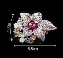 Rhodium Silver Tone Multicolored Rhinestone Crystal Leaf Flower Diamante Brooch