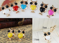 Wholesale Hot Sales Exquisite crystal alloy owl earring pairs
