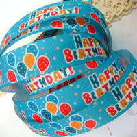Wholesale Balloon Happy Birthday Priting Grosgrain ribbon DIY bow Cake Gift Wrapping mm