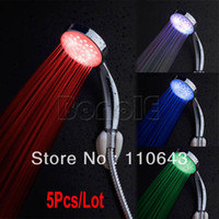 Wholesale 5pcs Multiple Color Colors LED Shower Head Bathroom Faucet LED Head Nozzle18276