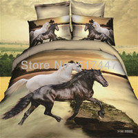 Wholesale Black and white horse animal duvet quilt doona covers bed comforters bedclothes pillow case bedding set for king queen size