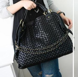 Wholesale Han edition chain in texture three woven bag shoulder bag inclined shoulder bag handbag sell like hot cakes