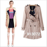 Wholesale coats CT379 New Fashion Ladies Elegant double breasted o neck casual slim quality outwear with pockets brand designer tops