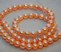 Wholesale AAA MM Natural Peach Color Round Off Potato Pearl Strand Loose Pearl Natural Color Freshwater Pearl Jewelry