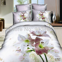 Cheap modern floral printed white color bed sheets and Duvet cover quilts pillowcase 4pcs bedding set 3d Queen size 100 Cotton Fabric