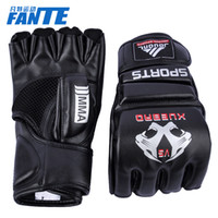 Wholesale Kau Lung professional kickboxing gloves half finger glove mitts MMA UFC Sparring Gloves adult dermal shipping