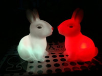 Wholesale New Mini LED Night Light Cartoon Rabbit Design Romantic Lovely Colorful Changing Small Night Lamp Wedding Favors Home Decor