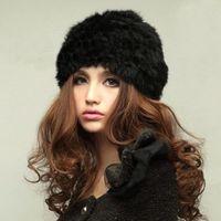 Wholesale S5Q Lady s Genuine Knitted Rabbit Fur Hat headdress Warm Cap AAABZW
