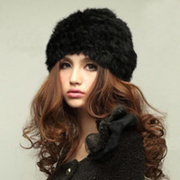 Wholesale S5Q Lady s Genuine Knitted Rabbit Fur Hat headdress Warm Cap AAABZW