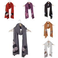 Wholesale Winter Women Mohair Long Scarf Warm Knit Neck Scarves Soft Crochet Wraps With Flower Style Choose DRO