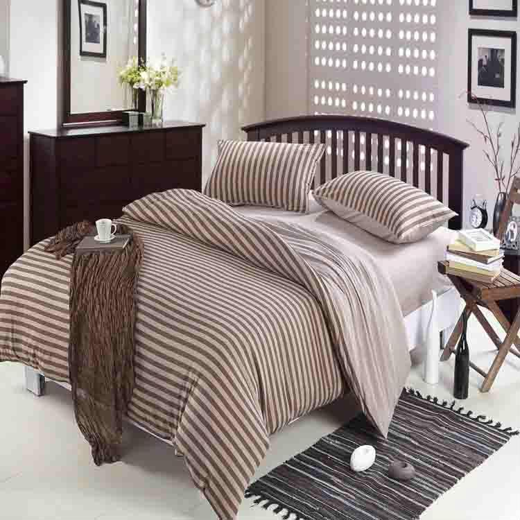 Stripe Printed Mens Bedding Set Winter Queen King Size