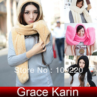 Wholesale Korean Women Girls Fleece Winter Warm in Scarf Hat Gloves CL5165