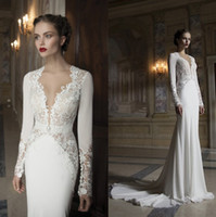 Cheap 2014 New Arrival Berta Sheath Wedding Dresses Bridal Gown With Hollow Deep V-Neck Covered Button Back Lace Crystal Sash Court Train Sku B01
