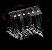 promoción de ventas más popular de estilo de la cortina de la onda 6 luces L750*W300*h650mm contemporáneo araña de cristal MYY8342