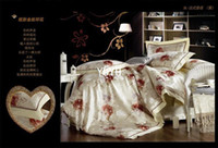 Wholesale New Year Promotion red flower comforter set queen size Jacquard silk bedding set bed sheet duvet cover set