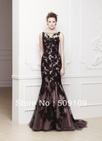 Wholesale New Fashion Sexy Black Evening Dresses Bateau Mermaid Tulle Appliques Court Train Celebrity Prom Gown Custom