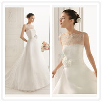 Wholesale Organza New Wedding Dresses Handmade Flowers White Church Bridal Gowns SweepTrain Strapless Formal Sleeveless AD0114