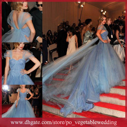 Wholesale 2014 Golden Globe Awards Off Shoulder A Line Long Trail Celebrity Dresses SA NW