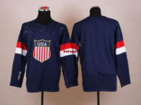 Wholesale 2014 USA Olympic Hockey Jersey low Price Navy Blue Jersey National Team USA Jersey mens Blank Hockey Jerseys M to XXXL mens Sports Jerseys
