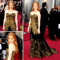 Wholesale Black Luxury Jessica Chastain A Line Celebrity Evening Dresses Sweetheart Sleeveless Sweep Train Gold Embroidery Beads Pageant Party Gowns