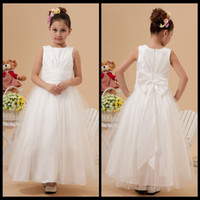 Wholesale Ivory Jewel Neck Flower Girl Dresses Ruched Satin and Tulle Ball Gown Ankle Length Wedding Party Dresses For Flower Girl Dress With Bow