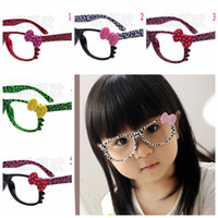 Wholesale 10Pc Fashion Kids Leopard Sunglasses Frames Retro Kitty Cat Dots Bow no Lens Frame Cool Nerd Geek Glasses Colors
