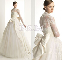 A-Line Reference Images High Collar Zuhair Murad Elegant 2014 High Neck Long Sleeve Lace Wedding Dresses Button Bow Berta Bridal Gowns F&M-100